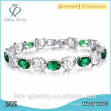 Bracelet plaqué platine de bijoux de mariage de haute qualité bracelet en strass vert