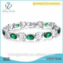 Alta qualidade do casamento jóias verde pulseira rhinestone pulseira banhado a platina