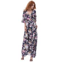 Kate Kasin Sexy Women's Summer 3/4 Sleeve V-Neck Tie-Waist Split Maxi Chiffon Vestido KK000702-1