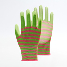 Multicolor Striped Polyester PU Work Labor Gloves
