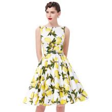 Belle Poque Stock sin mangas de algodón de impresión de limón Retro Vintage Audrey Hepburn estilo de vestidos 50s Pinup BP000002-38