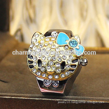 Cute Hellokitty Ring Watch Rhinestone Ring Watch Design for Girls Wholesale 2016 JZB010