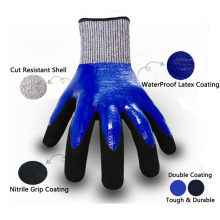 Maximum Protective Double Nitrile Coating Cut Level 5 Gloves against Mechanical Risks