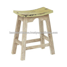 Distressed Solid Wood Small Stool