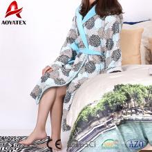 Super soft and warm women beautiful micro fleece hooded coral fleece bathrobe