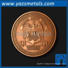 Monnaies personnalisées, personnaliser une pièce de retraite de haute qualité en cuivre