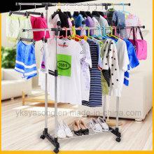 Estante de rodillo plegable del doble del estante del secador de la ropa para la ropa