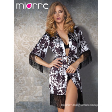 Miorre OEM Wholesale Women Fringed Detail Elegant Japan Kimono Style Bathrobe