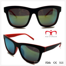 Classical Plastic Unisex Sunglasses with Double Color (WSP508285)