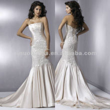 NN-163 Appliques elegantes e bodied plissado Halter Mermaid Wedding Dress / Bridal Gown