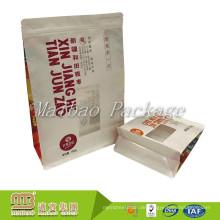 Nachgemachte wiederverschließbare Zip-Verschluss-Stand-Up Seitenkeil-Quadrat-Boden-Kraftpapier-Tasche für Nüsse / Trockenfutter
