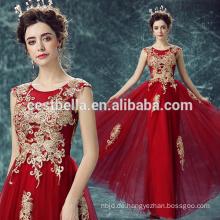 Modische rote lange Chiffon Abend Prom Party Kleid gestickte goldene Blume