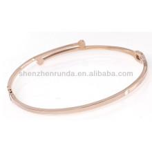 Einfache schlanke dünne Goldrose überzogener kundenspezifischer Entwurf kann gravieren Art und Weise personifizierte Rhinestonezirconarmbandarmbandschmucksachen