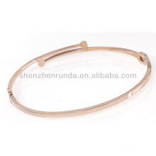 Simple slender thin gold rose plated custom design can engrave fashion personalized rhinestone zircon bracelet bangles jewellery