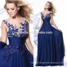 Chic elegante azul real por encargo vestido de noche 2017 vestidos de baile