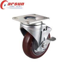 Ruedita giratoria para servicio mediano de 100 mm con freno lateral