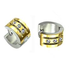 Boucles d'oreilles Huggie en or 18 carats plaqué or avec boucles d'oreilles Huggies en acier de cristal HE-021