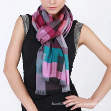 Fashion jacquard viscose plaid scarf