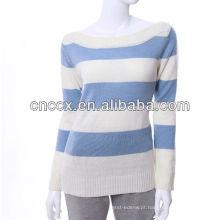 Camisola listrada branca azul das mulheres do pescoço 12STC0636 do barco