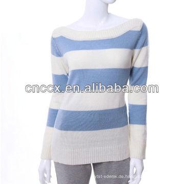 12STC0636 blaue gestreifte Strickjacke der Boothalsfrauen