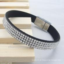 Mulheres de alta qualidade full shin rhinestone charme pulseira