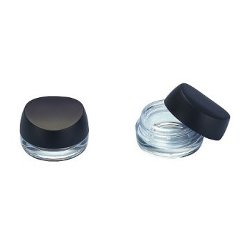 Curving Black Compact Powder Container