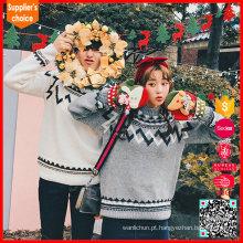 Moda coreana mangas compridas jacquard rena casal pulôver natal