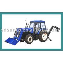 Tracteur de jardin à 4 roues motrices avec chargeur et pelle rétrocaveuse