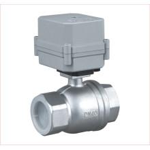 Válvula de actuador eléctrico de 2 vías Válvula de bola de agua de acero inoxidable motorizada (A100-T40-S2-C)