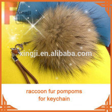 natural brown color raccoon fur pom keychain