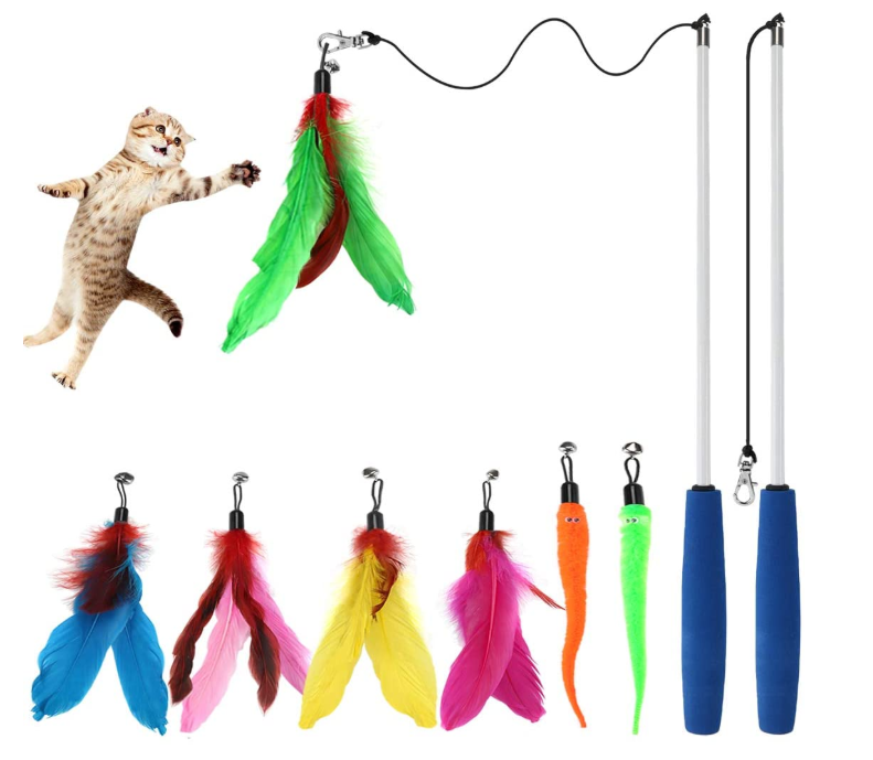 Interactive Cat Feather Wand