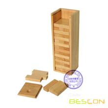Ξύλινα Jenga σύνολο ανατροπέα μπλοκ πύργο στο ξύλινο κουτί συσκευασίας