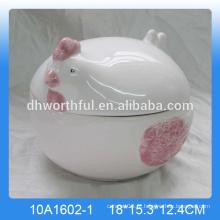 Venda quente recipientes decorativos, recipiente de galinha de cerâmica com tampa