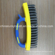 Double Color Plastic Handle Steel Wire Scrubbing Brush (YY-494)