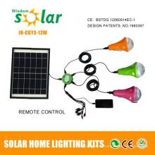 Sistema de iluminación solar 12W venta caliente, luces solares para uso en interiores, kit de iluminación solar