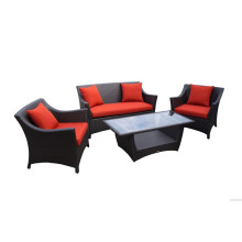 Set de salon de rotin rouge populaire 4PCS