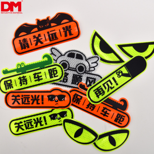 custom pattern micro prismatic light reflective luminous car decoration decal removable waterproof stickers
