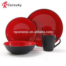 Factory venta al por mayor 4pcs negro y rojo color esmalte de cerámica llana cena conjunto