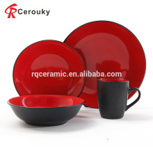 Factory wholesale 4pcs black and red color glaze ceramic plain dinner set