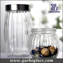 Botella de cristal tallada de Lidded y envase de alimento del Olivary (GB2102H-1)