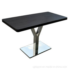 Black Rectangle Wooden Dining Table with Stainless Y Base (SP-RT415)