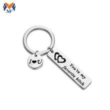 Porte-clés en acier inoxydable personnalisé avec petite étiquette