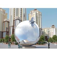 Gran Monumento Moderno Artes Esfera y animales al aire libre escultura o hito escultura de acero inoxidable