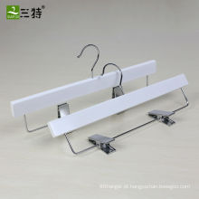 Sumtoo-9099 Cabides de calças de madeira brancas com clipes