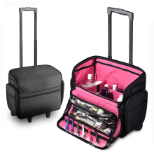 Professional Rolling Travel Trolley Makeup Train Case Cosmetic Organizer Makeup Case With Wheels