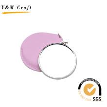 Espejo de bolsillo de cuero y metal coreano (H08042)