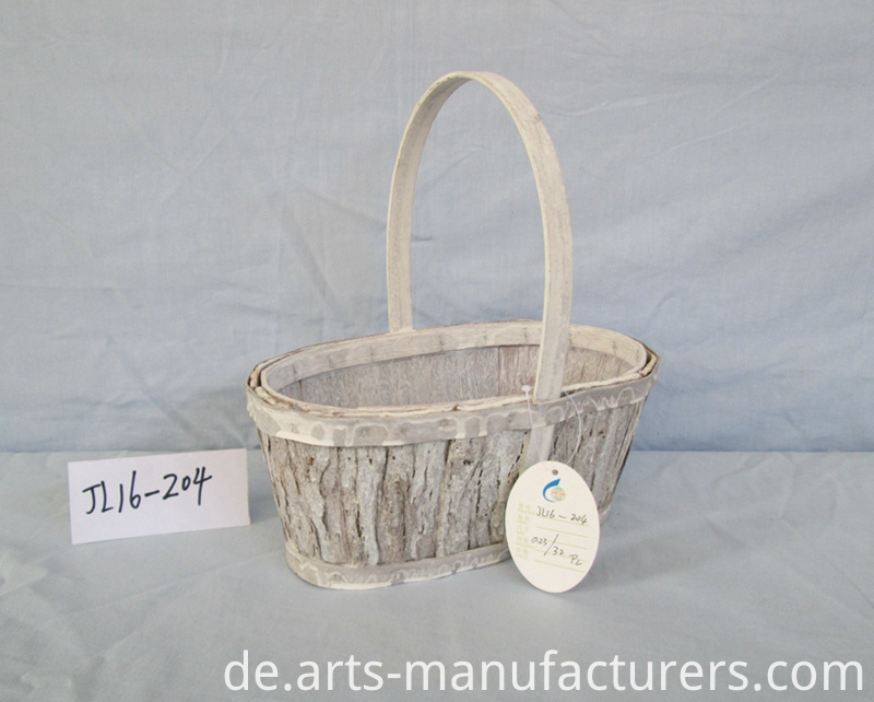 oval wash white basket