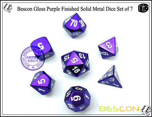 Bescon Gloss Purple Finished Solid Metal Dice Set of 7-5