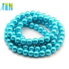 Perlas sueltas redondas checas de 8 mm perlas de vidrio de color aguamarina