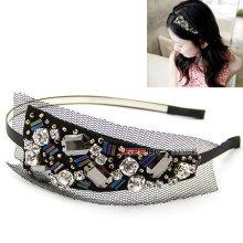 Headband preta do laço com os acessórios do cabelo do Hairband do frisado do cristal HB11